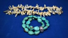 2pcs COSTUME JEWELRY - Including (1) 18'' white coral necklace and (1) turquoise beaded bracelet with Rhinestone accent - Condition: Age appropriate wear; All items sold as is.