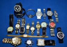 20pcs ASSORTED LADY'S AND GENTLEMAN'S WATCHES - includes Timex, Vise Versa, Orvis, Bora, Gruen, Seiko, Swatch, and more - Condition: Age appropriate wear; All items sold as is.