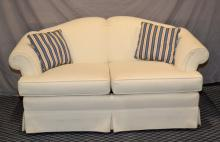UPHOLSTERED LOVE SEAT BY PENNSYLVANIA HOUSE - Measures: 32''H x 64''W x 36''D - Condition: Age appropriate Wear; All items sold as is.
