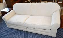 FULL SIZE SEALY SLEEPER SOFA - Tan tweed upholstery and a Sealy Mattress; Measures:  34''H x 84''W x 39''D - Condition: Age appropriate Wear; All items sold as is.