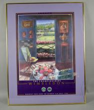 (2) WIMBLEDON POSTERS 1994 & 1995 - Set under glass in modern frame; Measures: Frame 34''H x 26''W - Condition: Age appropriate wear; All items sold as is.