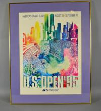 (2) U.S. OPEN POSTERS 1994 & 1995 - Set under glass in modern frame; Measures: Frame 34''H x 26''W - Condition: Age appropriate wear; All items sold as is.