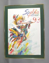 1993 EMANUELE LUZZATI SPOLETO FESTIVAL POSTER - Modern frame, no glass; Measures: Frame 45''H x 33''W - Condition: Age appropriate wear; All items sold as is.