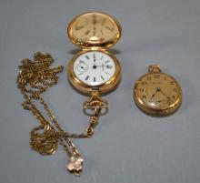 (2) ANTIQUE HAMPDAN GOLD FILLED POCKET WATCHES WITH SLIDE CHAIN - Condition: Age appropriate wear; All items sold as is.