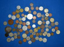 80+ ASSORTED FOREIGN COINS - Including a 1902 $1 Funf Mark Silver Coin - Condition: Age appropriate wear; All items sold as is.