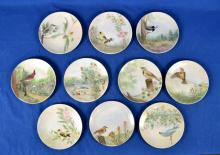 (10) HANDPAINTED PLATES OF BIRDS FROM MASSACHUSETTS - Condition: Age appropriate wear; All items sold as is.