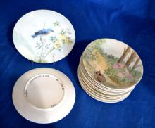(12) HANDPAINTED PLATES OF BIRDS FROM CONNECTICUT - Condition: Age appropriate wear; All items sold as is.