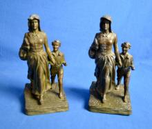 JENNINGS BROTHERS ''PIONEER WOMAN'' STATUE BRONZE COATED BOOKENDS BY BRYANT BAKER - Marked Bryant Baker copyright 1922, JB 3355 - Condition: One has damage; Age appropriate wear; All items sold as is.