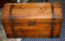 ANTIQUE PINE DOMED BLANKET CHEST - Hand wrought straps, blind lock; Measures: 25''H x 21.5''W x 41''L - Condition: Age appropriate wear; All item sold as is.