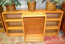 (3) OAK VENEER BOOK CASES - Measures: (2) 36''H x 36''W x 12''D, (1) 37''H x 24''W x 10''D - Condition: Age appropriate wear; All items sold as is.