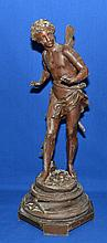 RANCOULET SCULPTURE OF AMOUR  Spelter sculpture of winged amour set on plinth base. 20'' hieght. 8x8'' base.  Signed in base ''Rancoulet''.  Condition age appropriate wear.  Wear to metal finish.
