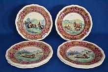 EIGHT (8) COPELAND-LATE SPODE TRANSFERWARE PLATES  Multi color transferware images with four different scenes of rabbits.  Shaped rims.  9 1/2'' diam.  Marked Copeland late spode 5008  Condition age appropriate wear.