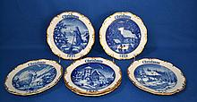 CAPODIMONTE DRESDEN CHRISTMAS PLATES LOT SIX (6) PIECES   Blue and white inage with raised gilt rims. 1971, 1972, 1973, 1975, 1976, 1977.  8 1/2'' diam.  Mark Crown N Dresden. Made in West Germany.  Condition age appropriate wear.