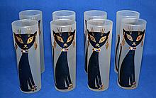 EIGHT (8) MED CENTURY JEWELED GLASSES   Mid Century frosted glass tumblers with stylized black cats with jeweled collars.  7'' hieght.  2 1/2'' diam.  No Mark. Condition age appropriate wear.