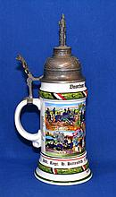 LITHOPHONE REGIMENTAL STEIN   Hand painted regimental stein with pewter figural lid.  Thumb lift. Lithophane interior.  Bottom with image of two young women.  12'' hieght. 4 1/2'' diam. base.  No Mark. Condition age appropriate wear.