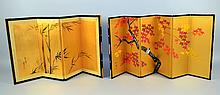 TWO(2)TABLE SCREENS Hand painted folding table screens. One(1), six panel with tree design. Red, gold and orange leaves with blue bird. 14.5''H 30''extended. One(1), four panel, gold bamboo design. 14 1/2''H. 25''extended. Condition, age appropriate