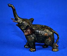 CAST IRON ELEPHANT  6.5''x6''. No Marks. Condition, age appropriate wear. All items are sold as is.