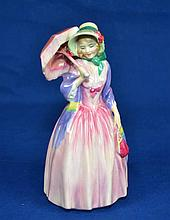 ROYAL DOULTON FIGURINE ''MISS DEMURE''  Mark, HN1402  Size, 7 1/2''H. Condition, age appropriate wear. All items are sold as is.