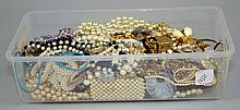 FAUX PEARL BIN  Lot includes, Necklaces, Bracelets, more, more, more. Condition, age appropriate wear. All items are sold as is.