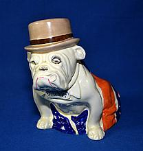 ROYAL DOULTON FIGURINE  Union Jack Bulldog with Tophat.#D6179. Size, 7 1/2''H. Condition, age appropriate wear. All items are sold as is. (crazing, chips, missing cigar).