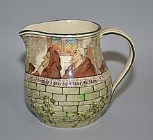 ROYAL DOULTON PITCHER ''THE JACKDOW OF RHEIMS''  D2532. Picture panel of two(2)Monks. Size, 5''H. 3 1/2''diam. Condition, age appropriate wear. All items are sold as is.