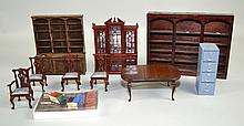 DOLL HOUSE FURNITURE Includes, Bookshelves, Dining Room and more Condition, age appropriate wear. All items sold as is.