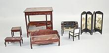 DOLLHOUSE MINIATURE BEDROOM FURNITURE Includes, Canopy Bed, Oriental Desk and Chair and more. Condition, age appropriate wear. All items sold as is.
