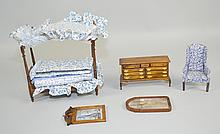DOLLHOUSE MINI BEDROOM SET Includes, Canopy Bed, bedding and pillows, Highback Chair, Dresser and mirror. Condition, age appropriate wear. All items sold as is.
