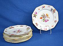 (8) EIGHT FLORAL PATTERN PLATES - To include (5) George Jones & Sons 10 1/2'' plates #23540, retailed C Reizenstein Sons, Pittsburgh; (3) P.T. Bavaria Tirschenreuth 10'' plates - Condition: Age appropriate wear, all items sold as is.