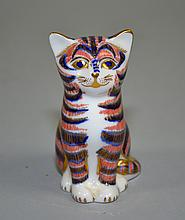 ROYAL CROWN DERBY BONE CHINA CAT  Measures 5''H. Condition, age appropriate wear. All items are sold as is.