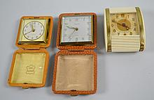 (3) THREE 1940'S TRAVEL CLOCKS - Includes: (1) Renco - Rensie Watch Co, Germany; (1) Empire - The Florn Comp, Germany US Zone; (1) Westclox - Travalarm Spring Alarm Clock - Condition: Age appropriate wear, all items sold as is.