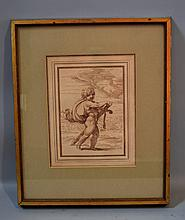 18TH. CENTURY (?) SEPIA DRAWING FRAMED 18Th.Century or earlier Sepia drawing on paper. Putti with sword. Paper with ink french matte and grey matte. Set in gilt and wood tone frame. Window, 10 1/4''H. 8''W. Frame, 18''H. 15''W. No Mark. Condition age