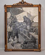 C.W.ASHLEY 1911 PAINTING  Clifford Warren Ashley (1881 - 1947) Monochromatic oil on canvas. Moors attacking ship at sea. Set in gilt gessoed frame. 40''H. 28''L. Signed lower left, C.W.Ashley 1911  Condition age appropriate wear.