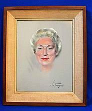 MID CENTURY PORTRAIT ON GLASS. unusual mid Century portrait reverse painted on glass, artist signed lower right (unreadable) set in linen wrapped matt in wood frame. Size: glass: 20'' h 16''W. frame; 26''H, 22''W. Condition: age appropriate wear.