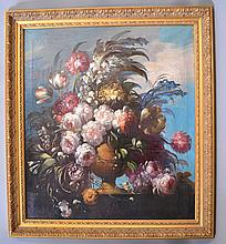 ITALIAN SCHOOL (Late 19th c.) Floral still life, oil on canvas, unsigned. Contained in newer gilt molded frame. Condition: some sagging at stretcher, otherwise good condition. Dimensions: 36'' X 32'', frame 42 3/4'' X 38 1/2''.