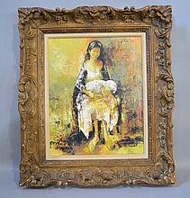 K. MARION MOTHER AND CHILD. Contemporary oil on canvas, signed upper right: K. Marion. with linen fillet and gilt frame. Size; frame: 29''H, 25''W. Condition: minor losses to frame.