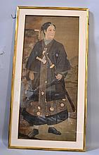 JAPANESE COURT PAINTING OF SAMURAI IN COURT ATTIRE. c. 1905 painting on silk, full length portrait of samurai with sword. Contained: in gilt wood frame with gold fillet and silk wrapped matte. Size: window: 44''H, 19 1/2''W. frame: 50 1/2''H, 26