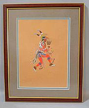 C. SZWEDZICKI 1929 POCHOIR PRINT BY STEVE MOPOPE. L'Edition d'Art C. Szwedzicki 1929 Kiowa Indian Art volume Pochoir print. Dancer, one of 16 illustrations by Steve Mopope. Double matted under glass in wood and gilt frame. Size: window: 14 1/4''H,