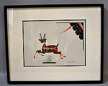 JULIAN MARTINEZ DEER AND LIGHTNING GOUACHE. Julian Martinez (1897-1943). DeEr and lightning. gouache signed lower right Julian Martinez. matted and framed in black frame. Size: window: 9 3/4''H, 13 1/4''W. frame: 16 3/4''H, 20 3/4''W. Condition: age