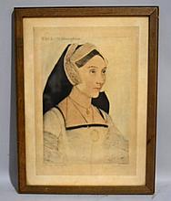 HOLBEIN REPRODUCTION PUBLISHED BY RHEINTHAL AND NEWMAN, NEW YORK. Framed under glass. Size: 16 1/4''H, 12''W. Condition: age appropriate wear.