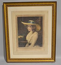 ENGLISH MEZZOTINT PUBLISHED 1909 BY H.C.DICKENS.  signed lower right: E. Pallard. Woman in large hat. matted and framed. Size; 18 1/2''H, 15 1/2''W. Condition: age appropriate wear.