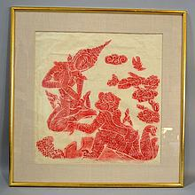 PAIR THAILAND RUBBINGS. Pair of red Thailand rubbings on paper, linen mattes in gilt wood frames. No mark. Size; 24 1/2''H, 24''W. Condition: age appropriate wear, some scratches on surface of gilt frames.