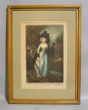 MEZZOTINT AFTER GAINSBOROUGH. Signed lower right:illegible. matted in gilt wood frame. Size; 31''H, 23''W. Condition: age appropriate wear.