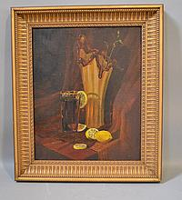 A. SAVELIEV STILL LIFE. 1993 oil on canvas, still life of glass and lemons. signed on verso in Russian with title, artist, date. Set in gilt wood frame. Size: canvas: 21''H, 17''W. frame: 26 1/2''H, 22 1/2''W. Condition: age appropriate wear.