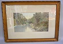 2 HAND TINTED PHOTOGRAPHS OF SLIPPERY ROCK CREEK. No mark. Size; ()1) 15''H, 21 1/2''W. (10 18 1/2''H, 25''W. Condition: both with acid mattes, sold as is.
