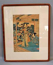 KUNISADA II (1823-1880). 1861 Colored woodblock print, image from the ''Tale of Gengi''. framed in acid free matte under glass in custom corner wooden frame. Size: window: 13 1/2''H, 9 1/2''W. frame: 21''H, 16 3/4''W. Condition: age appropriate wear.