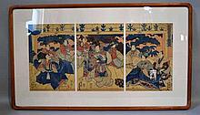 TOYOKUNI III (UTAGAWA KUNISADA 1786-1865). 1854 triptych, colored woodblock print triptych, Sanbaso on New Year. published by Minaloya. Censor Seal: Aratame. Engraver: Horitake. Framed in acid free matte, under glass in custom corner wooden frame.