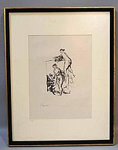 PIERRE-AUGUSTE RENOIR (1841-1919) 'Femme Au Cep De Vigne', lithograph, signed in plate. Published 1904, Delteil 47. Contained in matted frame under glass. Condition: no visible defects. Dimensions: 6 1/2'' X 4 3/8'', frame 18 3/4'' X 14 3/4''.