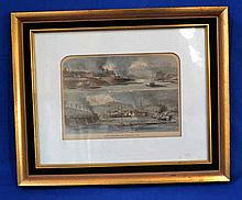 19TH C HAND COLORED STEEL ENGRAVING VIEWS OF PITTSBURGH, FRAMED. 19th c. engraving from periodical (Harpers?) view of South Pittsburgh and allegheny City. Hand colored framed by Antiques Graphics, 201 N. Craig St. Pgh. Size: frame: 13 3/4''H, 16