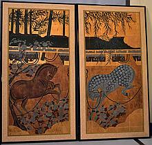 PAIR ASIAN HORSE PAINTINGS. Contemporary Asian paintings on paper, mounted on silk in matching ebonized wood frames, horses in stalls with blossoming flowers and bamboo, gilt backgrounds. No mark. Size: 54''H, 29 1/4''W each. Condition: age